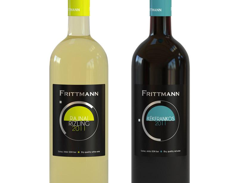 Frittmann Rajnai rizling és Kékfrankos címketervek design by Evista Kreatív Stúdió