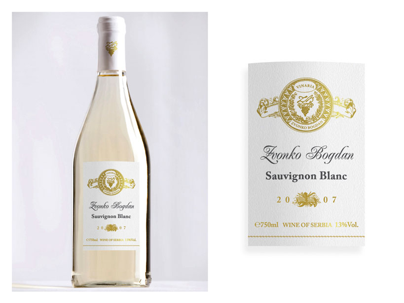 Vinaria Zvonko Bogdan Sauvignon blanc címketerv design by Evista Kreatív Stúdió